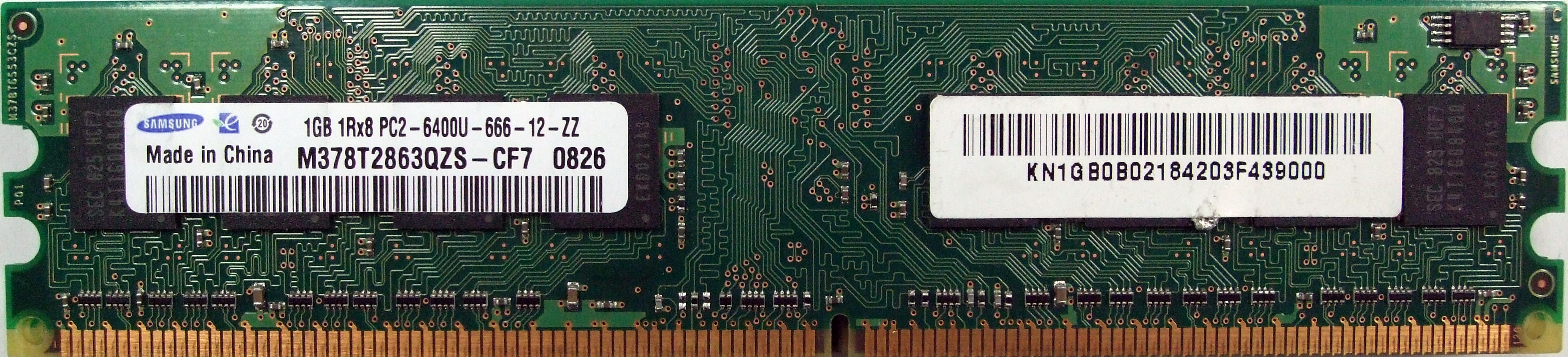 Оперативная память DDR II, 1Gb, Samsung 800 Mhz <M378T2863QZS-CF7>