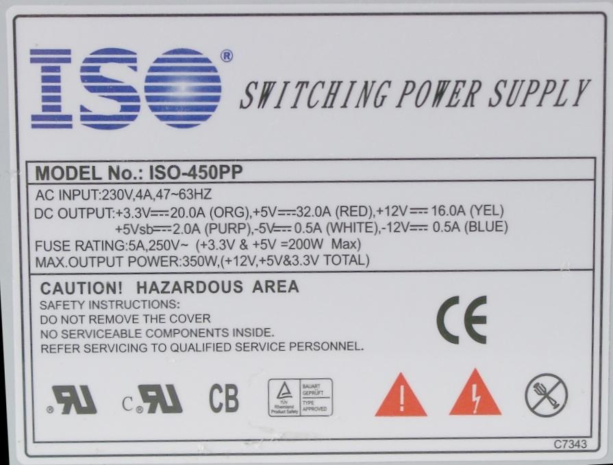 Блок питания 350W ISO-450PP
