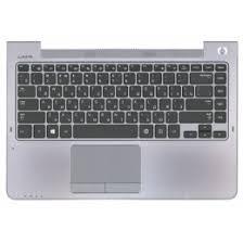 Клавиатура ноутбука Samsung NP535U4C черная (Топкейс серебристая)