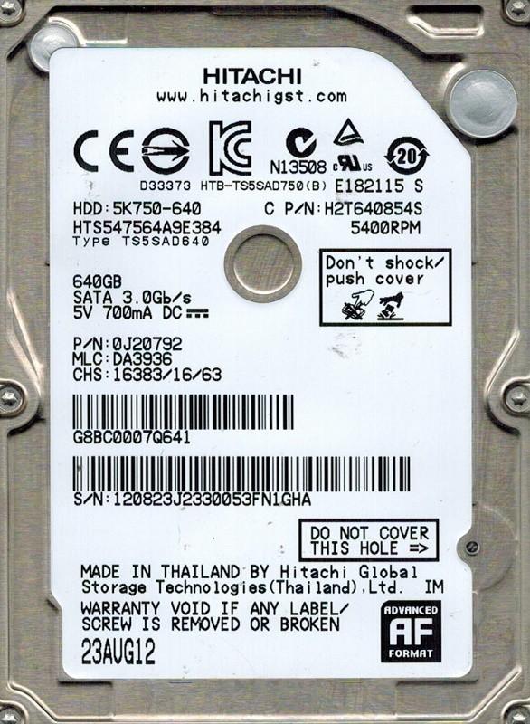 """Жесткий диск 2.5"""" 640Gb, 5400 rpm, 8mb, SATA 3 Hitachi <HTS547564A9E384>"""